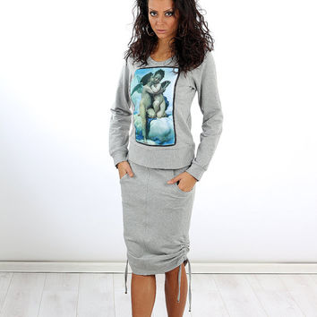 Gray sporty set / Grey tracksuit / Cotton skirt and top / Blouse with print / Athletic set