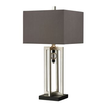 Silver Leaf Table Lamp With Crystal Accents And Grey Shade Black,Silver Leaf