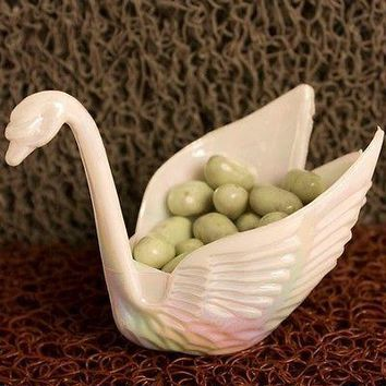 12 Beautiful Iridescent White Swan Wedding Favors Candy Dish Containers
