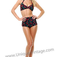 Vintage Inspired Swimsuit 50's Style Black & Red Cherry Print Bikini - Unique Vintage - Cocktail, Evening & Pinup Dresses