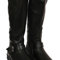 Elizabeth Flat Knee High Buckle Detail Boot in Black