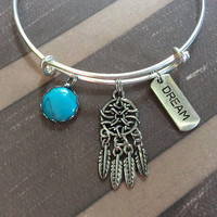 Dream Catcher Turquoise and Dream Charm on a Silver Adjustable Expandable Bangle Bracelet Sleeping Tranquility Calming Gift