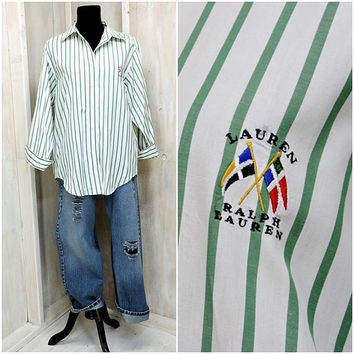 Ralph Lauren oxford shirt /  vintage 80s Ralph Lauren / white / green striped button down cotton shirt / size M
