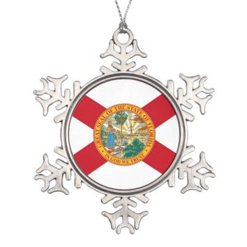 Snowflake Ornament with Florida Flag