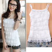 Sweet Girls Women Lace Halter Mini Shirt Tiered Top Blouse Sleeveless