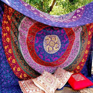 ESBU3C Retro Rectangular tapestry Indian Mandala Tapestry Hippie Wall Hanging Digital printing beach towels sunscreen square shawl