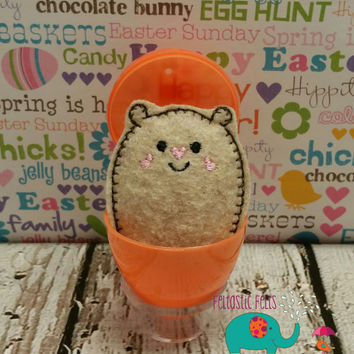 Tiny stuffed hamster egg buddy, embroidered, party favor, stuffed animal, stuffie, travel toy, stuffed toy, embroidery, grab bag, easter