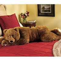 Super-Soft Big Bear Hug Body Pillow with Realistic Accents, in Brown Bear