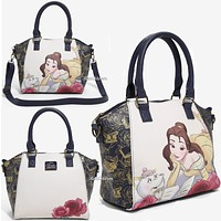 Licensed cool Disney Beauty & The Beast Belle Reading Mrs. Potts & Chip Satchel Hand Bag Purse