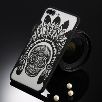 Vintage Black Scull with Indian Headdress for Phone Case For Apple iPhone 7 6 6s 5 5s SE