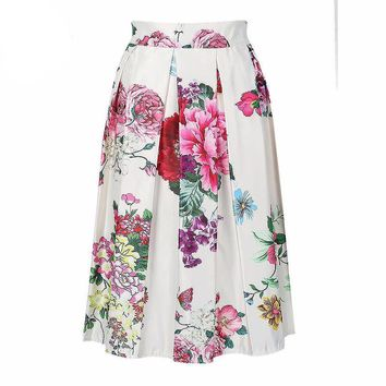 2016 Summer Hot Sale Flower Printed High Waist Pleated Skater Midi A-line Skirt Women Casual Summer Style Fashion Wear
