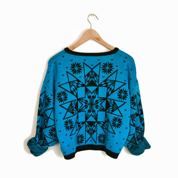 Vintage 80s Geometric Snowflake Cardigan Sweater in Blue & Black - Ugly Christmas Sweater - m
