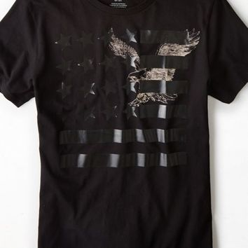 AEO Men's Eagle Flag Graphic T-shirt (Bold Black)