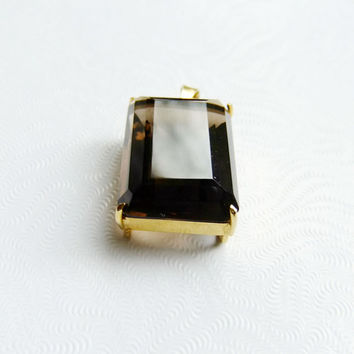 Smoky Quartz Deep Brown Faceted Pendant 25mm in Gold Plated Basket Frame