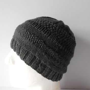 Hand Knit Wool Hats. Men's Hats. Pure new wool hat. Men's wooly hats. Gray Winter Cap, Winter Hats for Men. Winter Hats for Women.