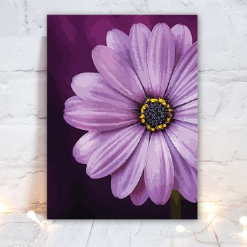 Watercolor PURPLE Daisy Flower Wall Art, Purple Daisy Bedroom Wall Decor, Daisy CANVAS or Print Purple Daisy Flower Bathroom Decor, Set of 1