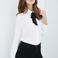 Self-Tie Collared Blouse