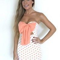 White & Coral Polka Bow Front Bodycon Dress