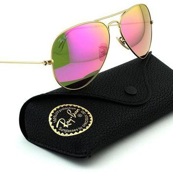 VOND4H Ray-Ban RB3025 Aviator Large Metal Mirrored Unisex Sunglasses (Matte Gold Frame/Pink Mirror Lens 112/4T, 58)