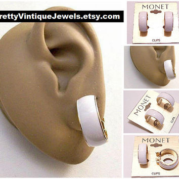 Monet White Wedding Band Hoops Clip On Earrings Gold Tone Vintage Large Striped Edge Round Open Ring Dangles