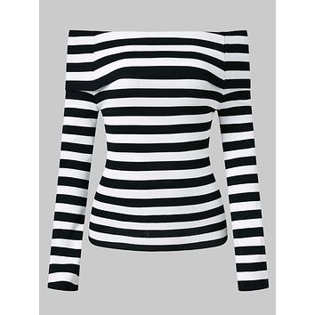Off The Shoulder Striped Women Knitwear 1100