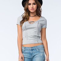 Full Tilt Womens Lace Up Top Gray  In Sizes