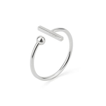 T-Bar and Ball Stackable Ring in Silver 925