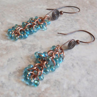 Copper Blue Earrings Beaded Dangle Shaggy Loops Hand Made Artisan