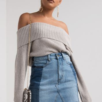 AKIRA Off Shoulder Long Sleeve Fine Rib Knit Collared Sweater in Heather Grey