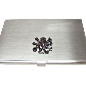Gunmetal Toned Octopus Business Card Holder