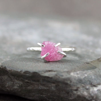 Pink Tourmaline Stacking Ring - Raw Uncut Rough Pink Tourmaline - Sterling Silver Rings - Pink Raw Gemstone Ring - October Birthstone Ring