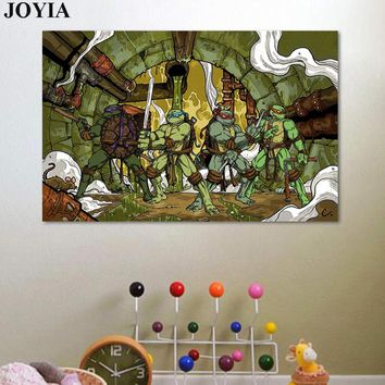 Classic Comics Ninja Turtles Poster, Teenage Mutant Ninja Turtles Wall Art Picture, Kids Boy Room Decor, Leo,Raph,Mike,Don