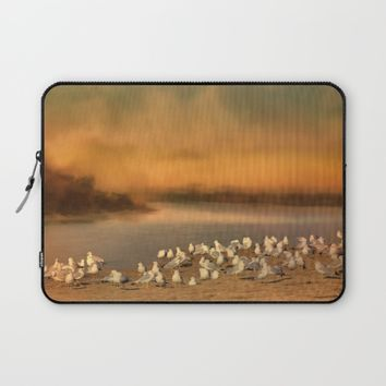 Seagulls On The Beach At Sunset Laptop Sleeve by Theresa Campbell D'August Art