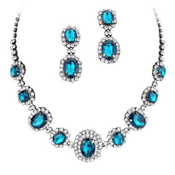Peacock Blue Regal Statement Bridal Bridesmaid Necklace Earring Set Black Tone F2