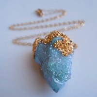 SPIRIT QUARTZ Necklace Aqua Aura Druzy Aqua Blue by 443Jewelry