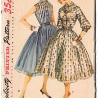 Vintage 1950s Ladies Dress Pattern, Knee Length Dress, Sleeveless Dress, Full Skirt, Gathered Skirt Simplicity Sewing Pattern 1536, Bust 32