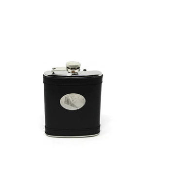 Vintage Leather Wrapped Flask - Sheridan No Tarnish Black Leather Flask - Groomsmen Gift - Gift for Dad - Gift for Him - Unique Gift Ideas