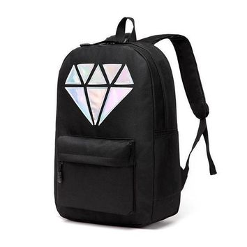 Gotopfashion Women Canvas Backpack School Bags Holographic Silver Diamond Solid Teenage Girls Female Men Laptop Sale waterproof bag