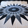 Pointed Star Amish Quilt in Black, White and Gray
