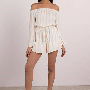 Kate Stripe Off Shoulder Romper