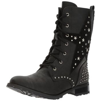Ladies Black Punk Star Studded Military Combat Boots