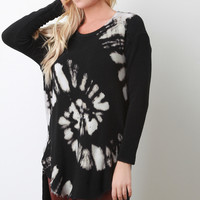 Tie Dye Knit Long Sleeve Raw High Low Hem Sweater Top