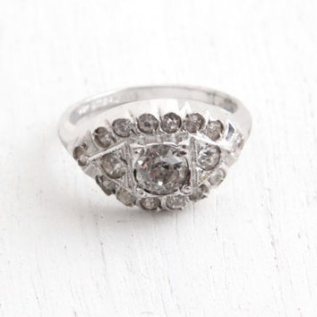 Vintage Art Deco Sterling Silver Rhinestone Ring - 1930s Size 7 1/4 Faux Diamond Cluster Jewelry Hallmarked Uncas