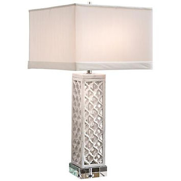 Square Arabesque White Marble Table Lamp