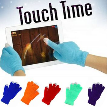 1 pair Hot Stretch Adult One Size Soft For Women Men Touch Screen Gloves Warm Winter Knit Texting Capacitive Smartphone