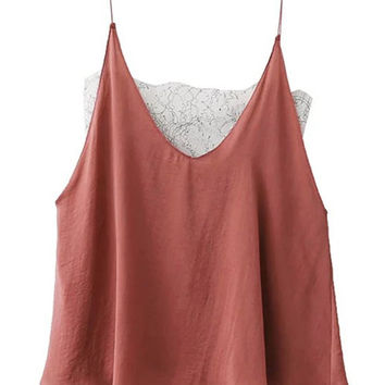Brick Rred V-Neck Sheer Lace Paneled Cami Top