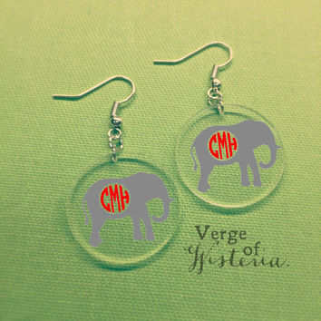 Personalized Elephant Monogram Earrings- Dangle Earrings, Football, Monogrammed, Custom Jewelry, SEC, Alabama Football, Southern, Roll Tide