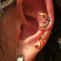 Rainbow Beaded Copper Wire Ear Cuff- Copper Wire Wrapped Ear Accessory, Embellishment, Handmade Spiral Jewelry