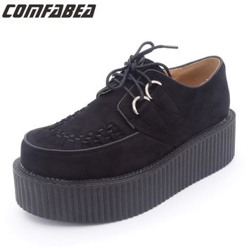 Womens Autumn Winter Classic Black Suede Lace Up Punk Goth Platform Studded Flat Creeper Shoes Women HARAJUKU Creepers shoe