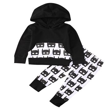 Newborn Baby Cotton Batman Hooded T-shirt Long Pants  new arrival fashion Clothes Outfits Boy Girls 2PCS Set